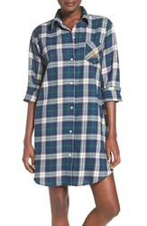 Lauren Ralph Lauren Women's Plaid Woven Sleep Shirt Plaid Ivory Red Blue