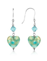 House Of Murano Vortice Turquoise Swirling Murano Glass Heart Earrings