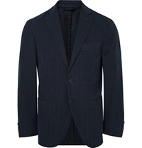 Hackett Blue Slim Fit Herringbone Cotton Twill Blazer Navy