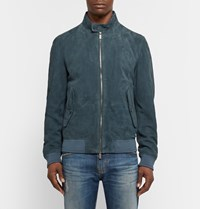 Hugo Boss Mekon Suede Bomber Jacket Blue
