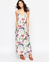 Motel Carrie Maxi Dress In Botanical Print Botanical Ivory White