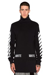 Off White Waffle Turtleneck L S Black And White
