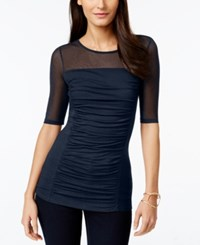 Inc International Concepts Short Sleeve Ruched Illusion Top Only At Macy's Deep Twilight