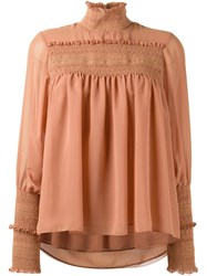 See By Chloe Smocked Detail Blouse Pink And Purple