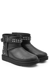 Ugg Australia Neva Studs Leather Boots With Shearling Black