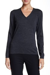 Lafayette 148 New York Wool V Neck Sweater Black