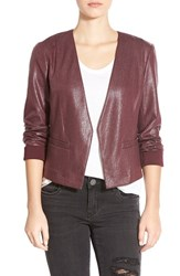 Junior Women's Frenchi Foiled Blazer Burgundy Stem