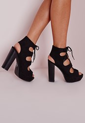 Missguided Lace Up 70'S Platform Sandals Black Black