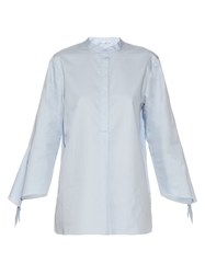 Tibi Long Sleeved Cotton Shirt Light Blue