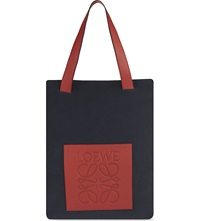 Loewe Suede Tote Bag Navy Blue Rust Red
