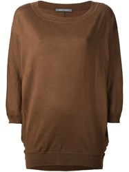 Alberta Ferretti Loose Fit Knit Jumper Brown