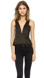 Mason By Michelle Mason Plunge Neck Metallic Tank Gold