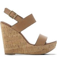 Steve Madden Esme Leather Wedge Sandals Tan Leather