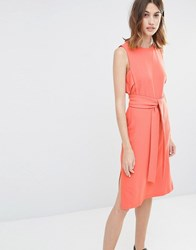 Warehouse Sleeveless Belted Dress Coral Orange