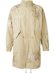 Amen Flower Embroidered Coat Nude And Neutrals