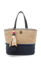 Tory Burch Straw Tote Toast Tory Navy Bondi Blue