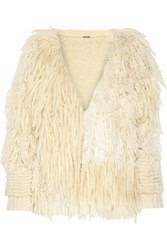 Adam By Adam Lippes Fringed Wool And Cashmere Blend Cardigan Ivory