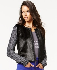 Rachel Rachel Roy Faux Fur Mixed Media Cardigan