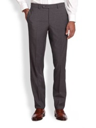 Saks Fifth Avenue Wool Check Trousers Navy Grey