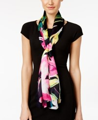 Vince Camuto Bold Strokes Silk Oblong Scarf Pink Glow