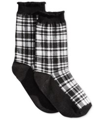 Hue Women's Solid Femme Top Sock Black Plaid