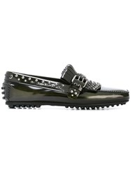 Car Shoe Studded Loafers Green