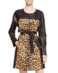 Escada Leather Leopard Trench Coat Women's