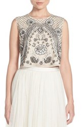 Needle And Thread Embellished Georgette Crop Top Pink