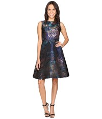Rsvp Minnie Sleeveless Fit And Flare Blue Multi Women's Dress