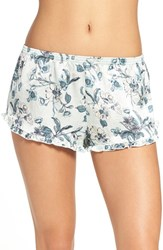 Chelsea 28 Women's Chelsea28 Satin Lounge Shorts Green Hush Botanical Floral