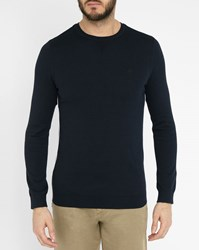 Ikks Navy Round Neck Sweater With Embroidery On Chest