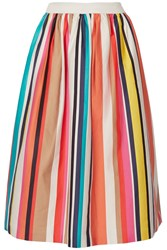 Alice Olivia Nikola Striped Stretch Cotton Poplin Midi Skirt Ivory