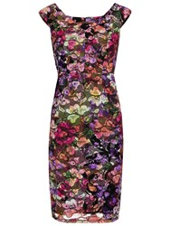 Gina Bacconi Stained Glass Stretch Lace Dress Multi