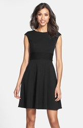 Women's Eliza J Pintucked Waist Seamed Ponte Knit Fit And Flare Dress Black