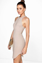 Boohoo Zip Front Halter Neck Bodycon Dress Sand
