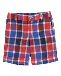 Pili Carrera Cuffed Plaid Linen Shorts Red Blue