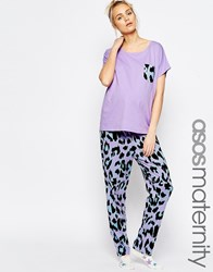 Asos Maternity Leopard Pyjama Set With T Shirt And Trouser Multi