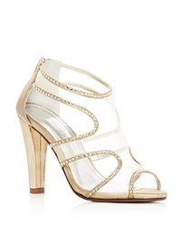 Caparros Desire Metallic Rhinestone Embellished High Heel Sandals Gold