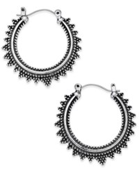 Macy's Silver Tone Spiked Aztec Hoop Earrings