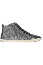 Marc By Marc Jacobs Metallic Snake Effect Leather Sneakers Gunmetal