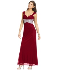 Hailey Logan By Adrianna Papell Juniors' Beaded Back Cutout Gown