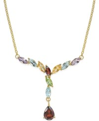 Victoria Townsend Multi Gem Drop Y Necklace 3 Ct. T.W. In 18K Gold Plated Sterling Silver Yellow Gold