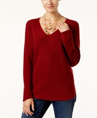 Inc International Concepts High Low Waffle Knit Sweater Only At Macy's Burnt Pepper