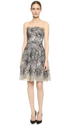 Lela Rose Strapless Lace Dress Black Ivory