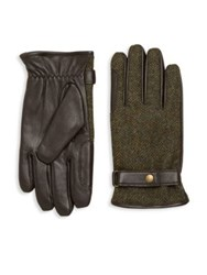 Barbour Acomb Wool Trimmed Leather Gloves Olive Brown