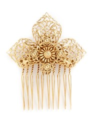 Miriam Haskell Filigree Flower Hair Comb Metallic
