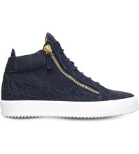 Giuseppe Zanotti Kriss Matte Crocodile Effect Leather Trainers Navy