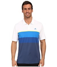 Adidas Climacool Engineered Stripe Polo White Light Yellow Eqt Blue Men's Short Sleeve Pullover