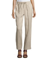Neiman Marcus Linen Straight Leg Drawstring Pants Harvest Brown