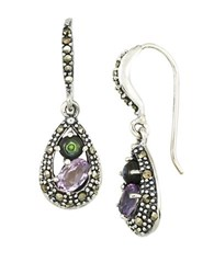 Lord And Taylor Amethyst Abalone Sterling Silver Teardrop Earrings Multi